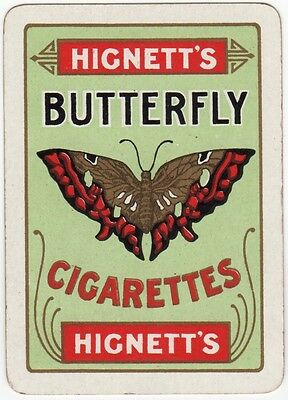 Playing Cards 1 Swap Card Old Vintage Wide HIGNETTS BUTTERFLY CIGARETTES Tobacco