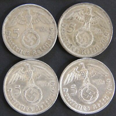 Four (4) Third Reich Nazi 5 Reichsmark Silver Coins  1936-D & 1939-B Circulated