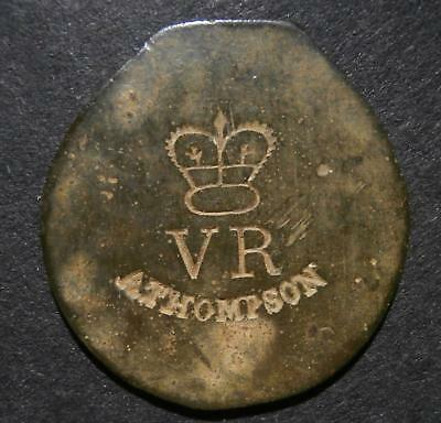 """Counterstamp / countermark - """"A. THOMPSON"""" with """"VR"""" & regal crown - royal pass?"""