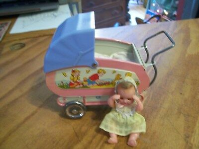 1950s Ohio Art co Tin Litho Toy Baby Carriage Moveable canopy Wheels Pink & Blue