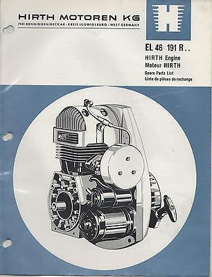 Hirth El 46  Snowmobile & Vehicle Engine Model 191 R Spare Parts Manual (654)