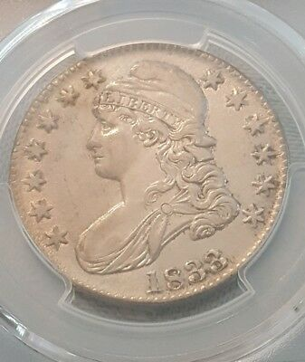1833 Capped Bust Half Dollar - Pcgs About Uncirculated Au Details!!!