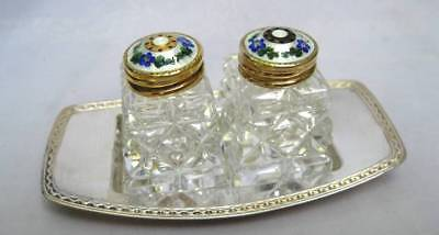 Andersen Norway Sterling Gilt Silver Guilloche Enamel Crystal S&p Shakers Tray