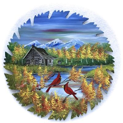 Hand Painted Saw Blade Art  Mountain Fall Log Cabin and Cardinals