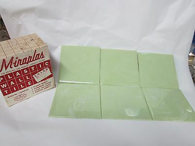 "40 Vintage MIRAPLAS Plastic Wall Tiles 4-1/4"" LIME GREEN Marble Mid Century NOS"