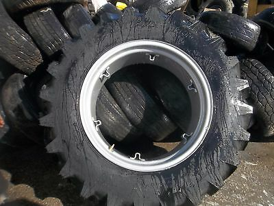 TWO 13.6x28,13.6-28 FORD TRACTOR 4 ply Titan Tractor Tires with 6 Loop Wheels