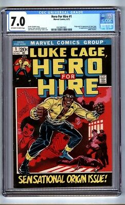 Hero for Hire #1 (CGC 7.0) OW/W pages; Origin/1st app. Luke Cage; 1972 (c#16122)
