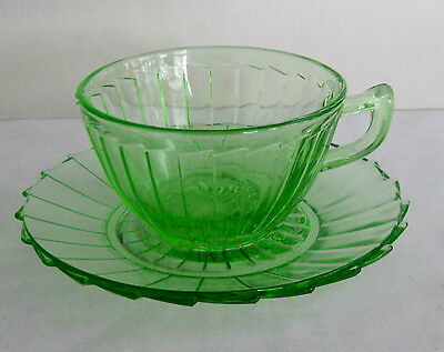 * Jeanette Glass Co.Cup/Saucer  Sierra Pinwheel
