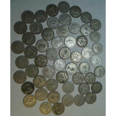 Lot, South Africa - 3 Pence Mix Dates, (55 Silver Coins)