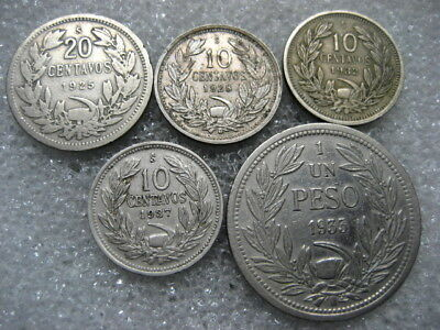 Coin Chile 19203-30s lot of 5 coins