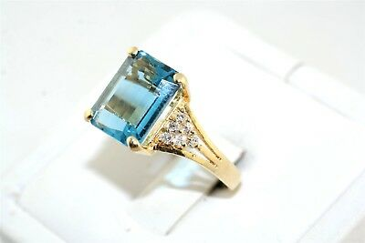 Fabulous Large Faceted Swiss Blue Topaz & Diamond 14k Yellow Gold Ring