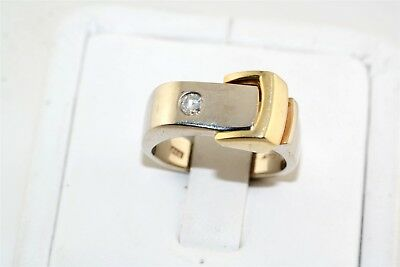 Buckle Style Diamond 14k White & Yellow Gold Ring