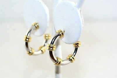 Classic 18k Yellow & White Gold Hoop Earrings