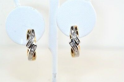 Diamond Channel Set 14k Yellow & White Gold Hoop Earrings