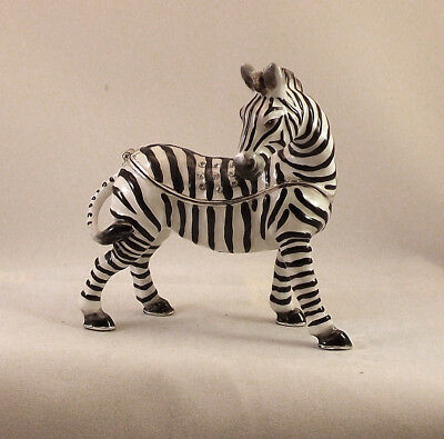 Kingspoint Savannah Zebra Pewter Bejeweled Hinged Trinket / Jewelry  Box