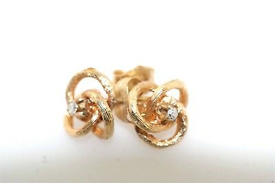 Classic Diamond 14k Yellow Gold Open Knot Earrings