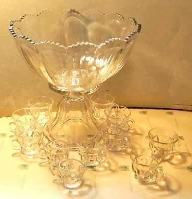 Vintage Heisey? Colonial Scalloped Glass Punch Bowl W/ Stand & Cups