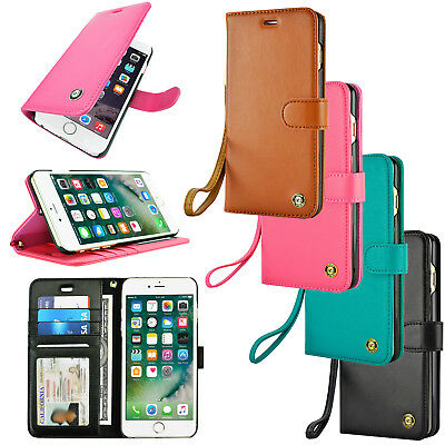 For iPhone 8 / iPhone 8 Plus Luxury Wallet Leather Slip Wrist Strap Case Cover