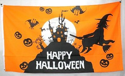 Big Orange 1.5 Metre Halloween Witch Large New Flag 3x5ft Party Decoration
