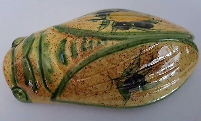 Vintage French Pottery / Ceramic Cicada Wall Pocket - Signed T.D.F.