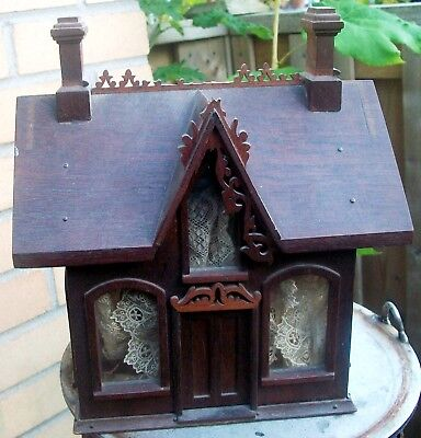 """9"""" Gothic Carved Wood Gabled Doll House Still Bank Lace Curtains Glass Windows"""