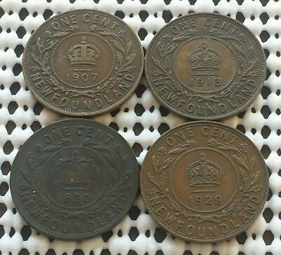 Lot of 4 Newfoundland Large Cents ❀ 1890 1907 1913 1929 ❀ Canada