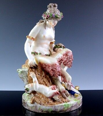 STUNNING VERY LARGE 19thC AUTH ROYAL VIENNA NUDE SATYR MAIDEN & FAUNS FIGURE