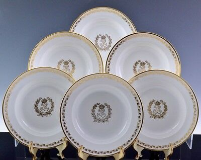 EIGHT c1840 SEVRES KING LOUIS PHILIPPE FRANCE ARMORIAL GOLD GILT DINNER PLATES