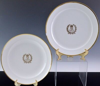 EXCEPTIONAL PAIR c1840 SEVRES KING LOUIS PHILIPPE ROYAL ARMORIAL CHARGER PLATES
