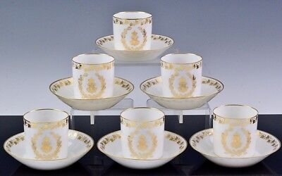 Set 6 1867 Sevres French Porcelain Napoleon Armorial Coffee Cans Cups & Saucers