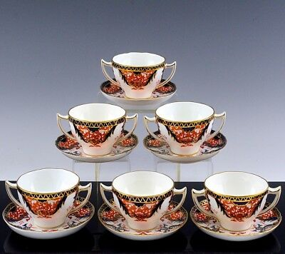 Superb Set 6 Vintage Royal Crown Derby 1270 Imari Handled Soup Bowls & Saucers