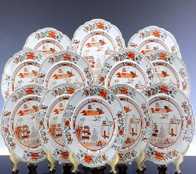 GREAT SET 12  19thC MASONS IRONSTONE CORAL RED CHINESE CHINOISERIE DINNER PLATES