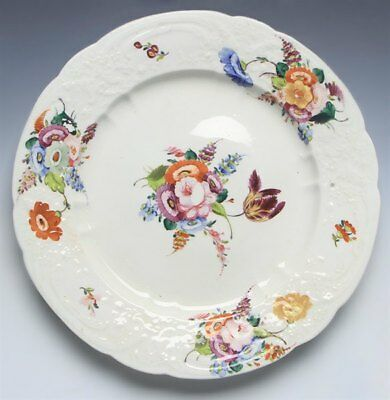 Antique English Welsh Floral Painted Moulded Plate Early 19Th C