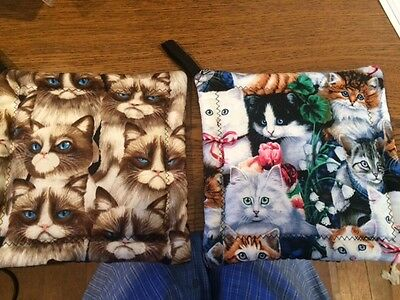 2 ( TWO ) Pot Holders-Hot Pads-Oven Mitt-Trivet-Kitchen-Kitty Cats-Handcrafted