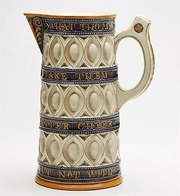 Antique Wedgwood Majolica 'caterers' Jug With Verse C.1867