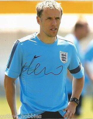 England Phil Neville Autographed Signed 8x10 Photo COA
