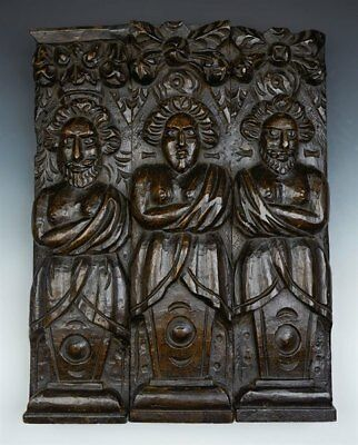 Antique Carved Architectural Wooden Figural Plaque 17Th C