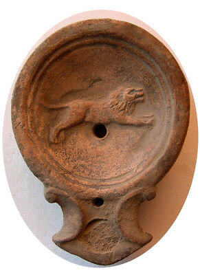 PCW-AN300-ROMAN EMPIRE. Ca. 1st-2nd Century AD. Terracotta Oil Lamp. Lion.