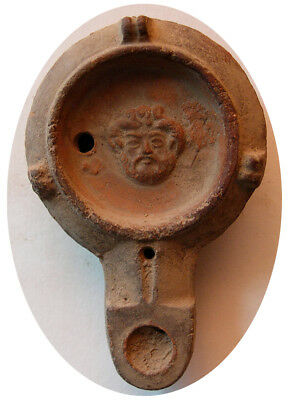 PCW-AN301-ROMAN EMPIRE.1st-2nd Century AD. Terracotta Oil Lamp. Zeus-Ammon.Rare.