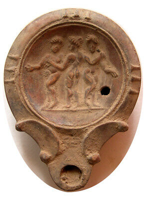 PCW-AN292-ROMAN EMPIRE.1st-2nd Century AD. Terracotta Oil Lamp. The Three Graces