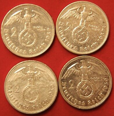 Four Coin WWII Germany Two Reichsmark Silver coins 1937-A & 1939-A Polished