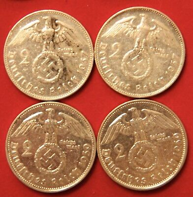 Four Coin WWII Germany Two Reichsmark Silver coins 1937-G & 1939-B Polished