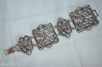 Vintage Art Deco Coro Silvertone wide Bracelet - Cherubs & Lion heads, signed