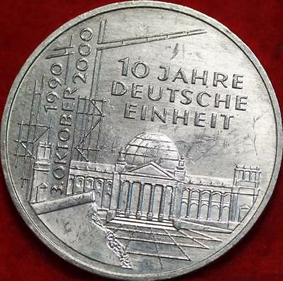 Uncirculated 2000-D Germany 10 Mark Foreign Silver Coin Free S/H