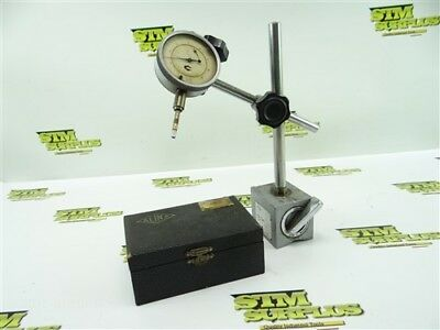 """Alina Swiss Precision Dial Indicator .0001"""" Grads W/ Case & Magnetic Base Stand"""