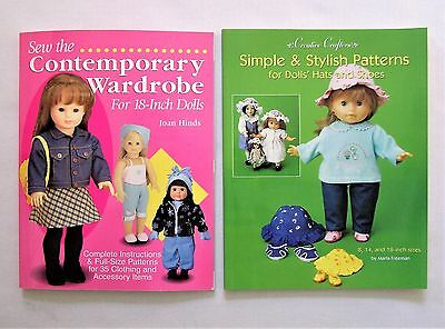 """✔️ Lot of 2 Pattern Books Sew Doll Clothes Hats Shoes 18"""" Girl NEW UNCUT sewing"""