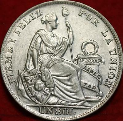 Uncirculated 1934 Peru Un Sol Silver Foreign Coin Free S/H