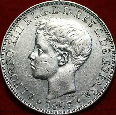 1897 Philippines One Peso Silver Foreign Coin Free S/H