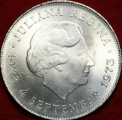 Uncirculated 1973 Netherlands 10 Gulden Silver Foreign Coin Free S/H