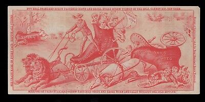 1870s Victorian Trade Card - Standard Screw - Huntington In - Lions Pull Shoe